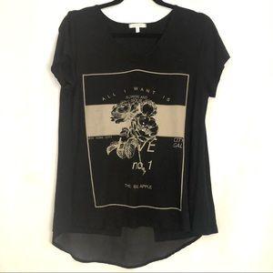 Ava James  Open back Sheer Panel Graphic T-shirt